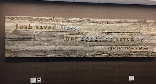 UW Organ and Tissue Donation signage on wood by BPI Color