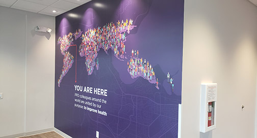 You Are Here wall mural by BPI Color