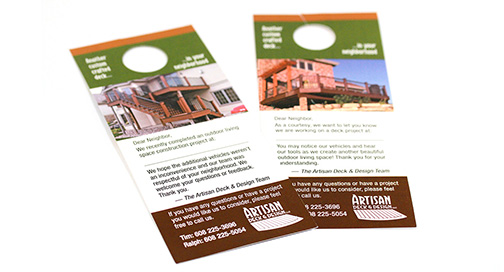 Door Hangers and other marketing materials printed at BPI Color
