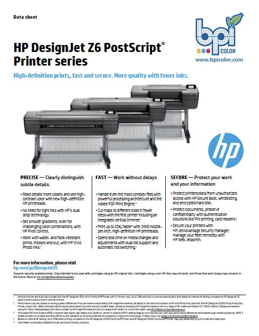 HP DesignJet Z6 24-in PostScript Printer from BPI Color