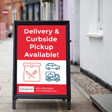 Pickup, Delivery, Curbside Signs - Sandwich Theme