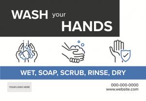 Wash Hands, Hygiene Signs - Boxy Theme