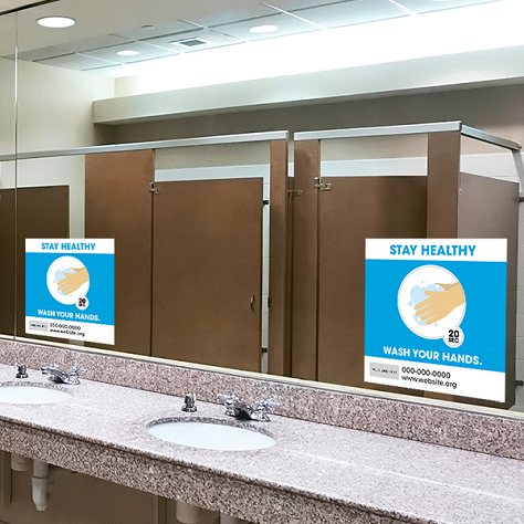 Wash Hands, Hygiene Signs - Double Bubble Theme