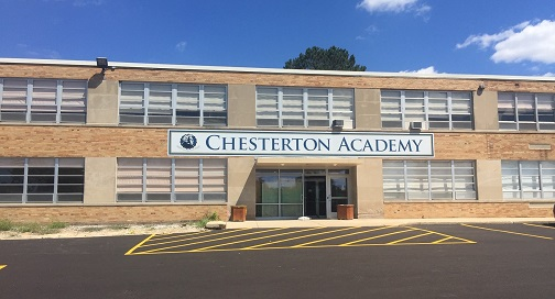 BPI Color prints and installs Chesterton Academy's new building signage